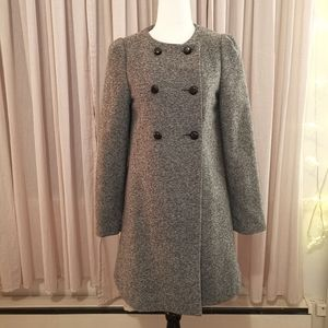 🆕 Zara Basic Tweed Wool Coat Grey w/ back bow